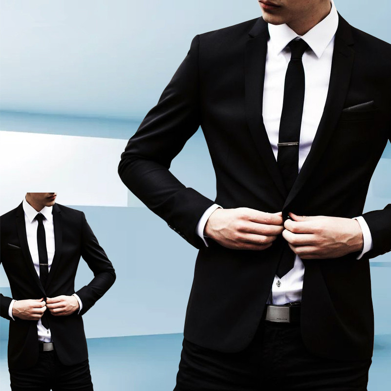 Custom Made Black blazer men slim fit blazer men suit chaleco hombre mens suits wedding suits for men groom (jacket+pants)