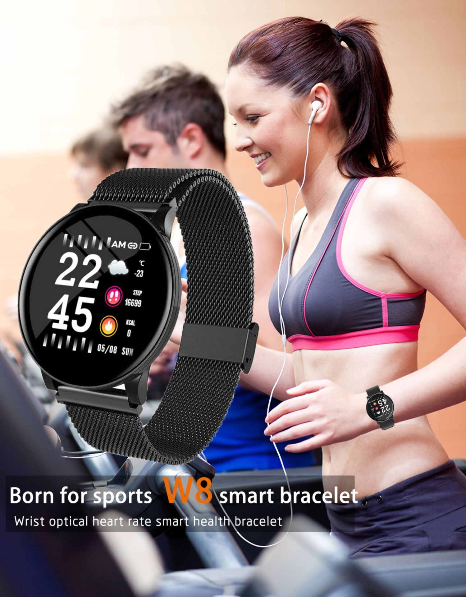 Smart Watch Round Sports Waterproof Smartwatch Men Women Fitness Tracker Blood Pressure Monitor SmartWatch Clock Xiaomi PK P8
