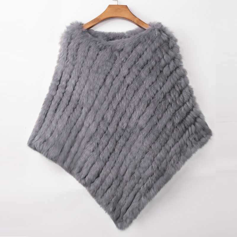 ETHEL ANDERSON Real Rabbit Fur Knitted Fur Poncho Vest Party Wrap Coat Shawl Women's Natural Fur Wedding Gift Wholesale Discount