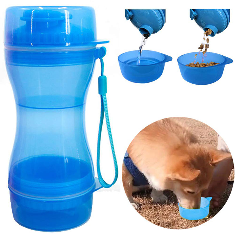 3 in 1 Portable Dog Water Bottle Food Container For Large Dogs Outdoor Drinking Bowl Multifunctional Pet Water Dispenser Feeder