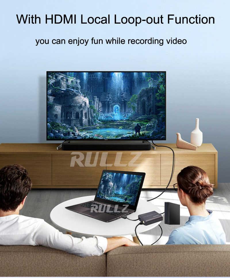4K 60hz حلقة خارج HDMI بطاقة التقاط الصوت والفيديو الصوت والفيديو تسجيل لوحة البث المباشر USB 2.0 3.0 1080p المنتزع ل PS4 لعبة DVD كاميرا
