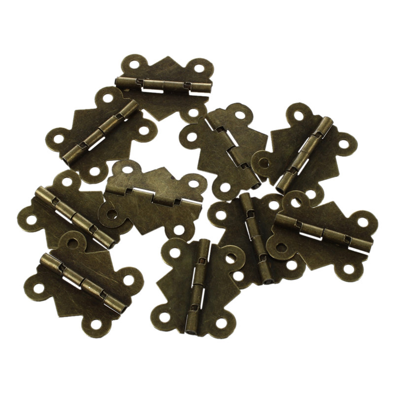10pcs Mini Butterfly Style Hinges for Dolls Houses Jewelry Box - Gold