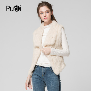 цена на VT7038 The new fashion women knitted/knit real rabbit fur vest 2020 brand new fur jacket overcoats