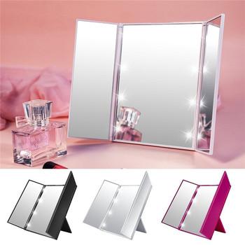 Przenośne oświetlenie LED lusterko do makijażu Vanity lights kompaktowe lusterko do makijażu kieszonkowe Vanity kosmetyczne ręczne składane lustro led tanie i dobre opinie Wyposażone CN (pochodzenie) NONE ABS + Glass Approx 15 5cm x 23 5cm(L*W) 250105