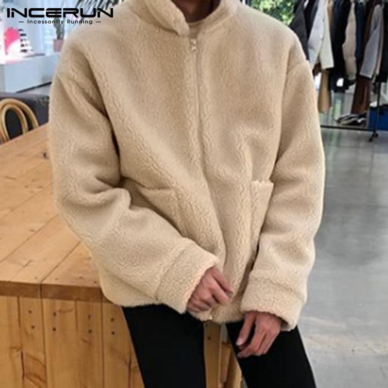 INCERUN Men Fashion Jackets Winter Faux Fur Fleece Lapel Pockets Zippers Outerwear Long Sleeve Parkas Fluffy Mens Coats 2020 5XL