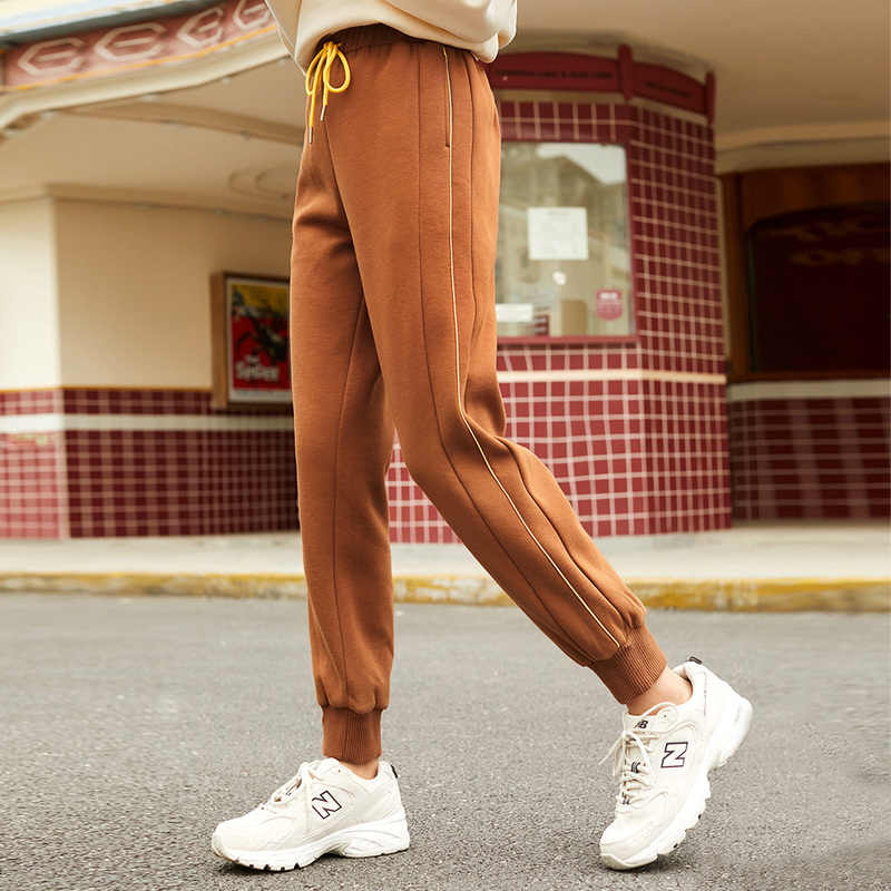 INMAN 2020 Winter New Arrival Women's Casual Pants Pure Cotton Loose Legged Pants Plush Students Show Thin Sports Style