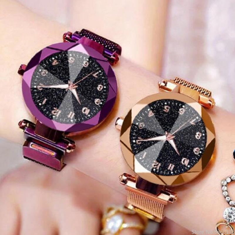 Luxury Women's Watches Bracelet Quartz Stainless Steel Illuminate Magnet Watch Women Starry Sky Wrist Watch Ladies Dress Clock