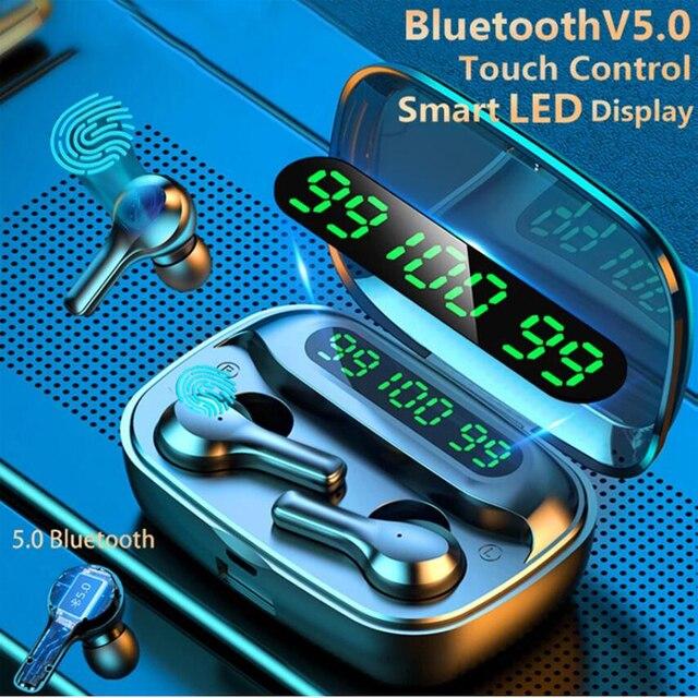 soleeanre Bluetooth Earphone 5.1 TWS Wireless Earphones LED with Microphone Waterproof Noise Cancel Headset Earbuds 2000mah