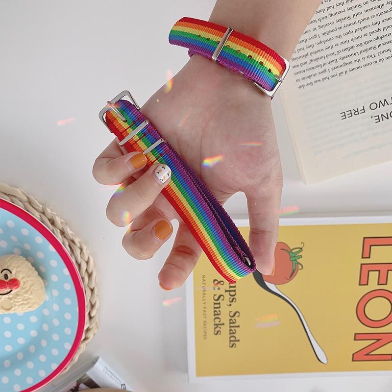 HZ 2020 Cool Guy Punk Rainbow Canvas Bracelet Adjustable Hip Hop Nylon Weave Strap Bracelet for Women Man Couple Party Jewelry