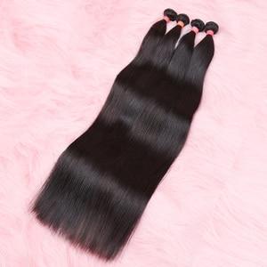 Прямые бразильские волосы 28, 30, 32, 34, 40 дюймов, 3 пучка, 4 пучка, пучки натуральных волос, волосы remy для наращивания