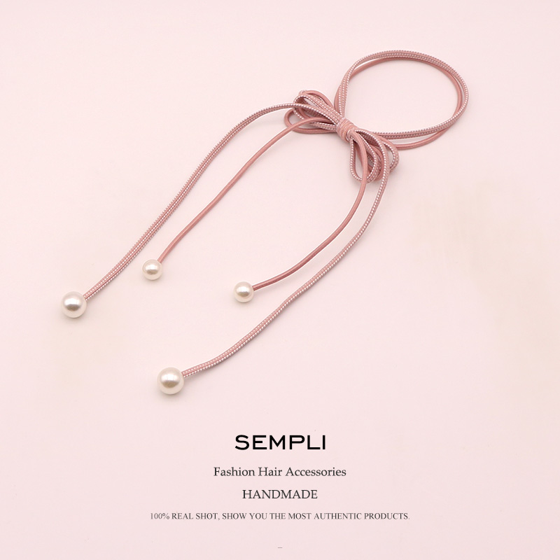 Sempli 6 Colors Nylon Strong Elastic Hair Bands For Women's Pearl Tassel Headwear Girls Kids Hair Accessories Satin Scrunchies