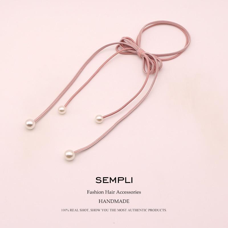 Sempli 6 Colors Nylon Strong Elastic Hair Bands For Women's Pearl Tassel Headwear Girls Kids Hair Accessories Satin Scrunchies