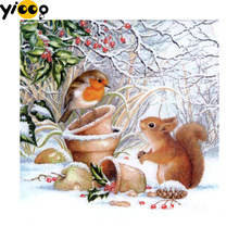Full Square/Round drill diamond Painting 5D DIY diamond embroidery squirrel in snow Diamond mosaic Decoration painting CX0102 full square round drill diamond painting 5d diy diamond embroidery hedgehog diamond mosaic decoration painting cx0102