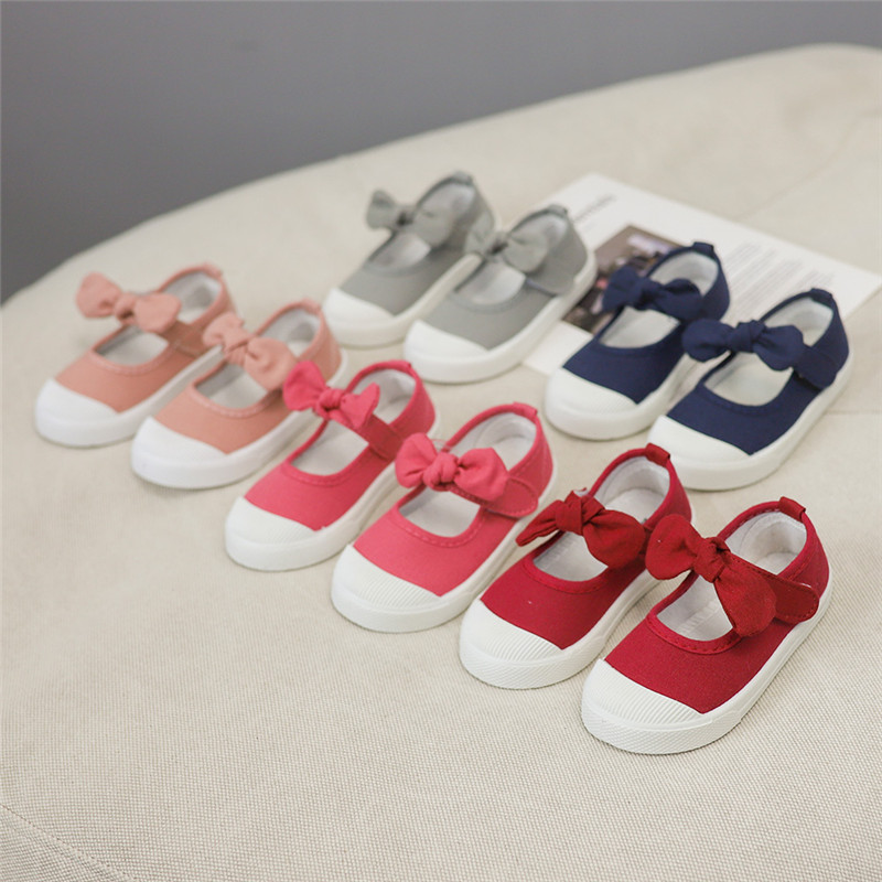 JGVIKOTO Kids Shoes Girls Shoes Children Sneakers Cute Sweet Bow-knot Canvas Casual Sneakers Fashion Soft Flats For Baby Girls