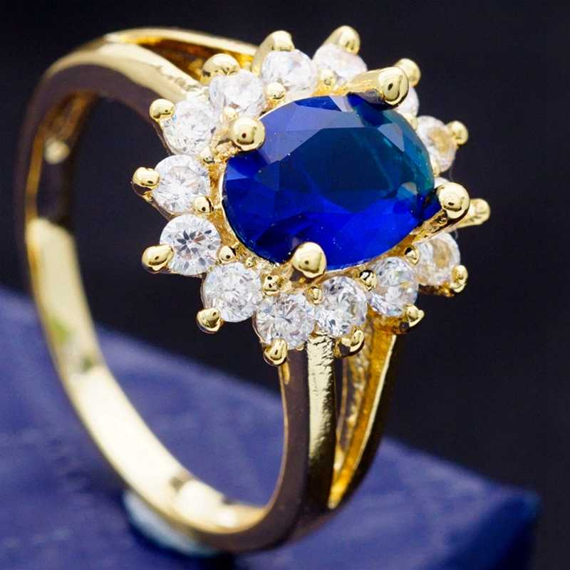 2019 New Fashion Flower Jewelry Noble Queen Blue Zircon Gold Color Wedding Rings for Women