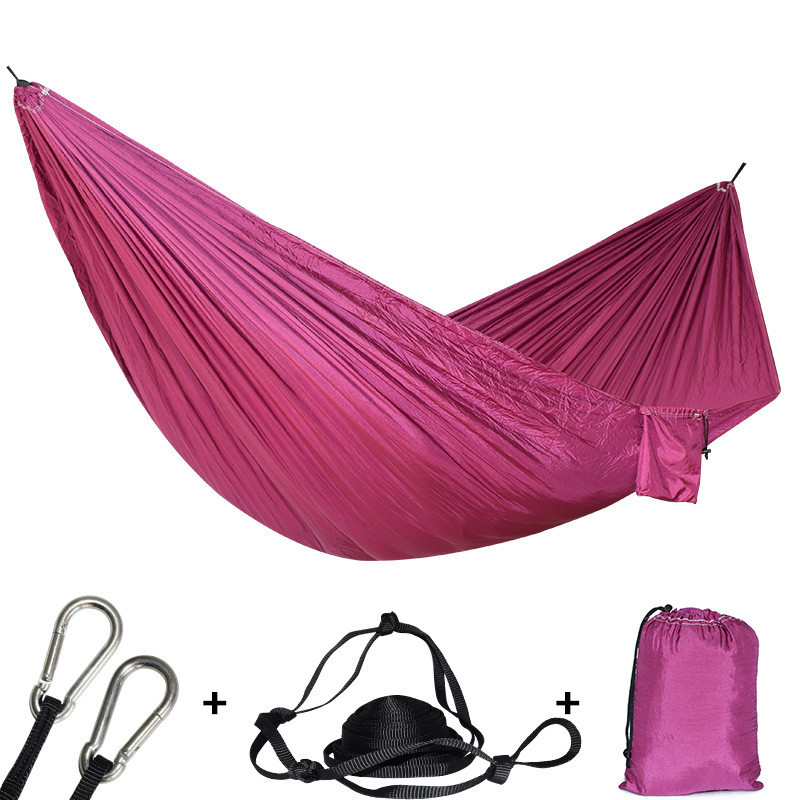 Double Person Outdoor Camping Hammock With Two Straps 2 Carabiners Safety Portable Hamac Hanging Swing Tree Bed Parachute Hamak