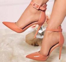Moraima snc Patent leather Ankle Strap Stiletto Heels Pointed Toe Party Dress Shoe Woman Sexy Thin Heels Pumps cheap Microfiber Super High (8cm-up) Fits true to size take your normal size Mature Shallow Spring Autumn Rubber Buckle Strap