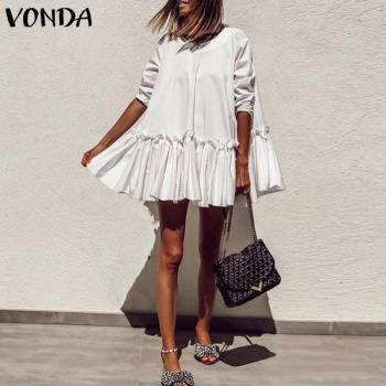 Bohemian Mini Dress Vintage O neck  Sundress VONDA Casual Patchwork Shirts Dress Women Solid Blouses Loose Vestidos Kaftan Robe vonda women dress vintage o neck long sleeve bohemian mini dress 2020 summer beach sundress casual loose vestidos plus size