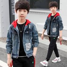 2019 Kids Denim Jacket Boys Jean Coat Clothing Fashion Cardigan for Boy Children Outerwear Cowboy Hooded Child