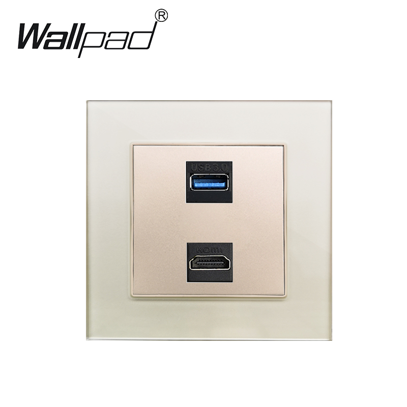 USB HDMI Wall Socket Glass Panel Wallpad USB 3.0 Data Transmission Ports With HDMI Outlet 86mm * 86mm