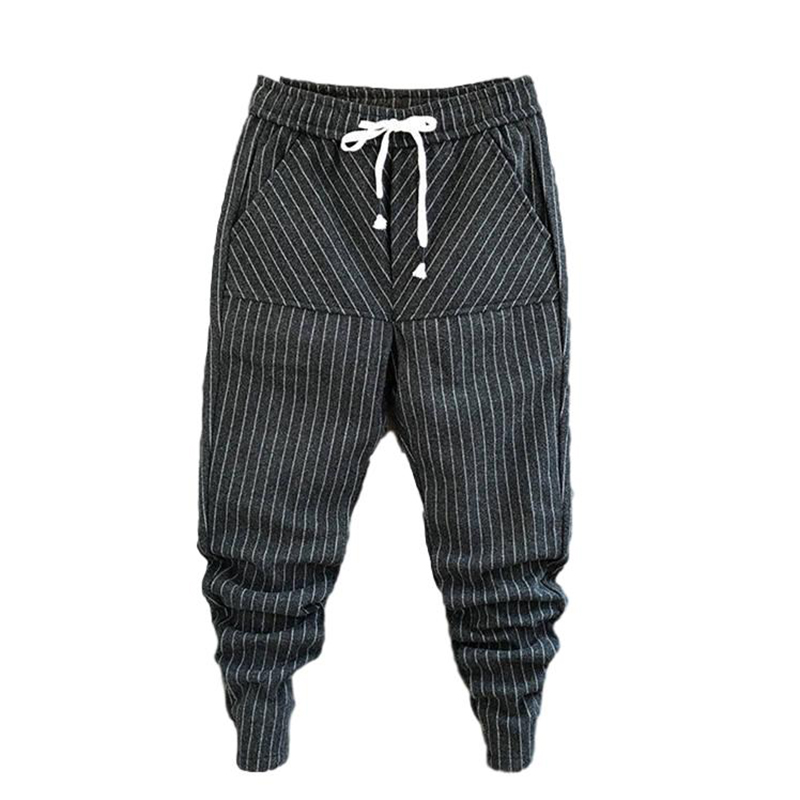 Idopy Fashion Mens Trend High Quality Harem Jeans Drawstring Comfy Striped Harem Pants Wool Trousers Joggers For Male