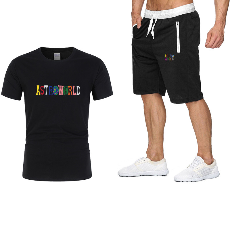2020 Summer Promotional Printing 100% Cotton T-shirt + Shorts Casual Men's Suit Fashion Casual Running Explosion-proof Sportswea