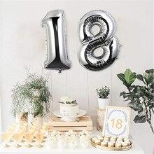 번호 풍선 18 번째 생일 40 인치 거대한 호일 풍선 생일 장식 세트 어린이 성인 18 생일 Baloes 파티 J30