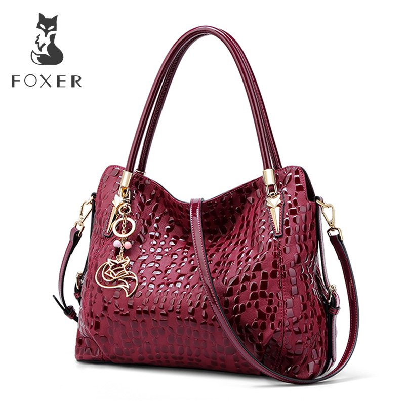 FOXER Brand Wine Red Women Purse Lady Genuine Leather Shoulder Bag Sequin Cowhide Chic Handbag Female Luxury Tote Large Capacity