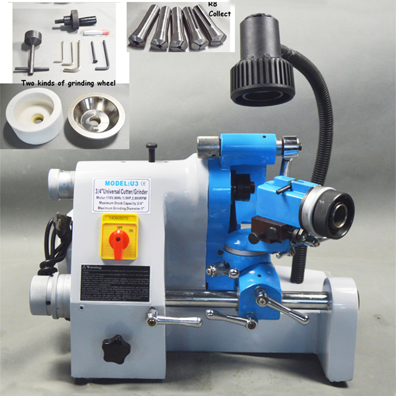 Universal Cutter Grinder Sharpener U3 110V End Mill Sharpener Accessories