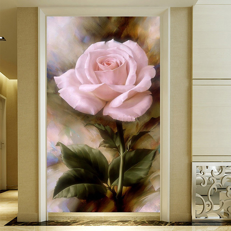Drop Shipping Custom Photo Wall Paper 3D Pink Rose Retro Art  Hotel Entrance Background Decorative Painting Fresco