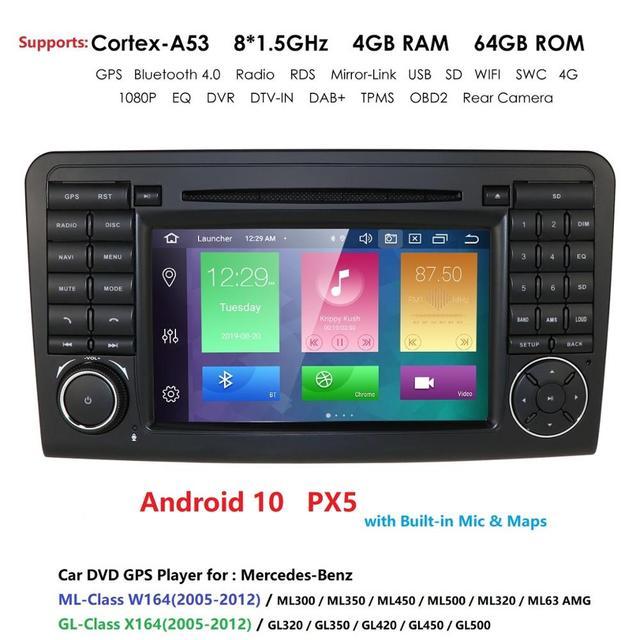 DSP PX5 z systemem Android 10 4G 64G nawigacja samochodowa GPS dla Mercedes Benz ML GL W164 ML350 ML500 GL320 X164 ML280 GL350 GL450 radio stereo nawigacji