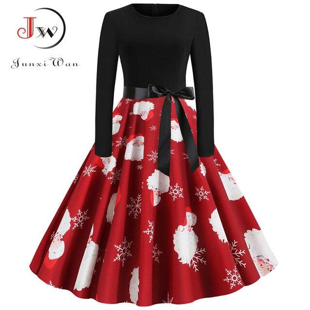 Women Christmas Long Sleeve Print Elegant Vintage Knee-length Party Dress Robe 2019 Autumn Winter Casual Plus Size Xmas Dress 1