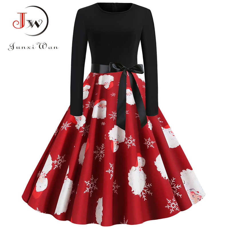 Women Christmas Long Sleeve Print Elegant Vintage Knee-length Party Dress Robe 2019 Autumn Winter Casual Plus Size Xmas Dress