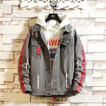 HCXY2019 autumn men's patch denim jacket male Korean D version of the trend Harajuku style denim jacket male фото