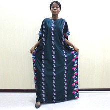Dashikiage African O Neck Dark Green Floral Pattern Printed Bright Beads Long Dresses With Scarf Plus Size