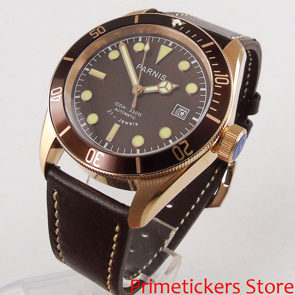 Brown dial gold plated case PARNIS 41mm sapphire crystal date automatic movement luminous leather strap mens wath
