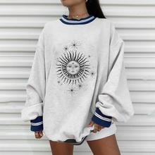 Plus Size Autumn Winter Sun Star Sweatershirts Womens Casual Loose Pullover Cute Youg Girls Hoodies Female Clothes Gray Oversize