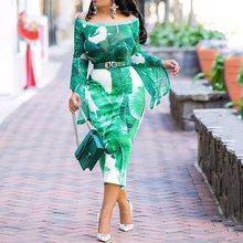 Boho Floral Print Off Shoulder Green Autumn Midi Dress Women Elegant Evening Long Sleeve Sexy Bodycon Dinner Party Dresses 2019 green off shoulder random floral print dress