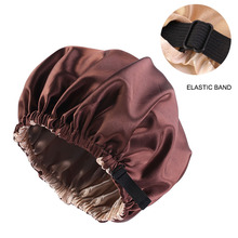 New Silky Satin Women Bonnet Hair Cap Double Layer Sleep Night Cap With Invisible Flat Adjusting Button Head Cover Bonnet Hat