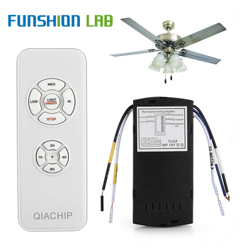 цена на FUNSHIO Universal Ceiling Fan Lamp Remote Control Kit AC 110-240V Timing Control Switch Adjusted Wind Speed Transmitter Receiver