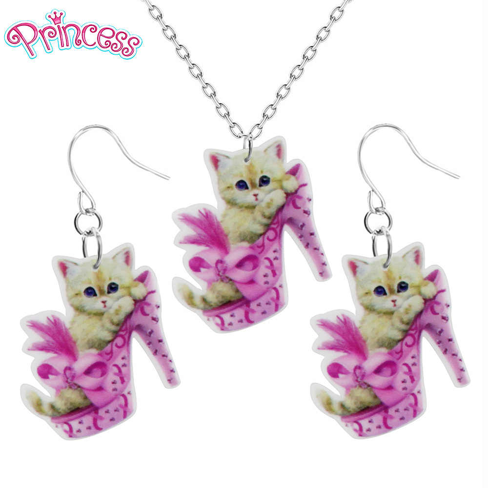 2019 Fashion Girls Kids Gift Jewelry Cute Pink High Heels Cat Earring Pendant Short Chain Necklace Xma Gift Wholesale KS33