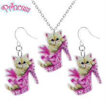 2019 Fashion Girls Kids Gift Jewelry Cute Pink High Heels Cat Earring Pendant Short Chain Necklace Xma Gift Wholesale KS33(China)