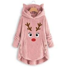 Womens Winter Cartoon Reindeer Hooded Fluffy Sleep Tops Soft Warm Sleepwear