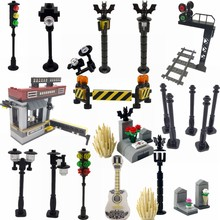 Legoing City The Train Track Tunnel Signal Light Model Kits Traffic Light Building Blocks Toys For Kid Gift With Legoings Cities(China)