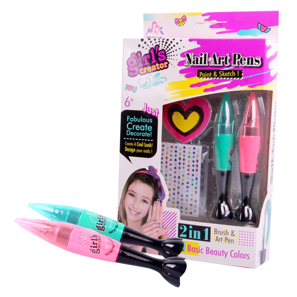 Children's Nail Art Pen Set Safe And Non-toxic Makeup Toy Nail Polish Set 3D Nail Art DIY Decoration For Girl Gift