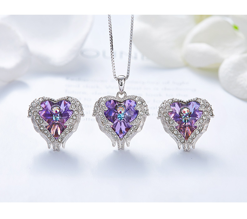 Crystal Heart Angel Wings Pendant 925 Sterling Silver Necklace Earrings Set Fashion Jewelry