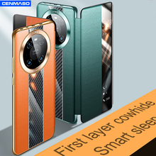 Luxury Vegan Genuine Leather for HUAWEI Mate 40 30 Pro Plus Case Sports Car Style Style