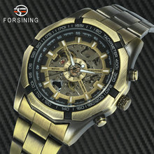 цена на FORSINING Vintage Punk Automatic Watch Men Skeleton Mechanical Watches Brand Luxury Winner Dress Wristwatch Copper Steel Strap