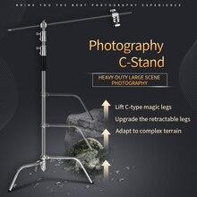 Photo Studio 2.6M/8.5FT In Acciaio Inox Pieghevole Stabile Basamento Della Luce Treppiede Magia Gamba Fotografia C Stand Per luce del punto, softbox