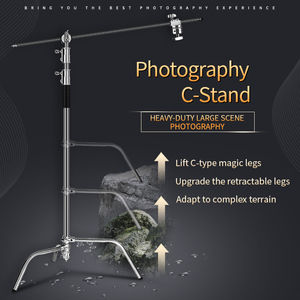 Image 1 - Photo Studio 2.6M/8.5FT In Acciaio Inox Pieghevole Stabile Basamento Della Luce Treppiede Magia Gamba Fotografia C Stand Per luce del punto, softbox